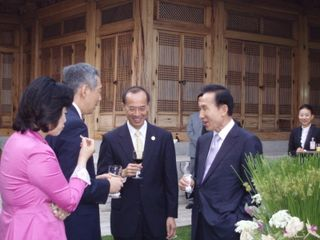 Minister with President Lee, PM and Legislator Park at Pre-dinner Drinks