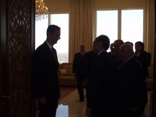 President Bashar bidding Minister farewell