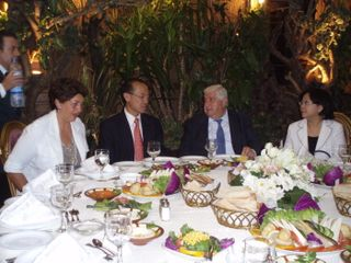 Minister and Mrs Yeo at lunch with FM Walid and Mrs Walid