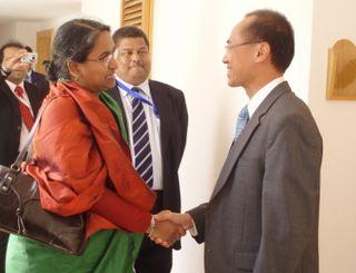 Minister Greeting Bangladeshi FM Dipu Moni