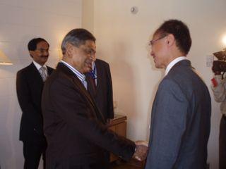 Indian FM S M Krishna greeting Minister