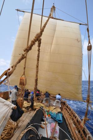 003 Lowering the mizzen sail in high wind is a tough job