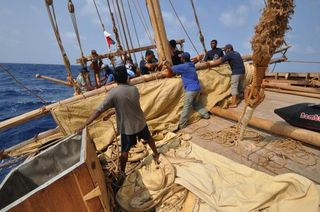 005 Preparing to hoist the storm sail